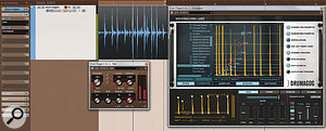 Here, you can see the recording from atom trigger, agate I'd placed first in the signal chain to clean up the signal alittle, and Drumagog tracking the dynamic of the signal and triggering tom samples accordingly.