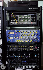 David Kosten's second outboard rack is topped by his much-used Roland Space Echo, followed by Focusrite ISA430 MkI and MkII voice channels, Drawmer 1960 compressor, API 3124  preamp, Alesis 3630 and Empirical Labs Distressor compressors.