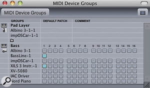 Two device groups I'm using for asequence are shown below. 'Pad Layer' has its devices displayed in alist, but for 'Bass' I've clicked the little disclosure handle to get an overview of all the devices and channels it includes.