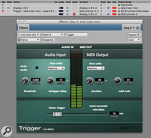Here's the basic setup for using Trigger, as seen in DP's Tracks window. Instantiated on the mono kick-drum track, Trigger is generating the MIDI note C1 in response to drum hits. That MIDI data is directed to EZ Drummer via the MIDI track. Make sure you have the Multi Record option enabled in DP's Studio menu so you can choose specific MIDI inputs like this.