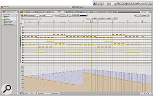 Here's the Graphic Editor in the cut and thrust of editing. It's showing two MIDI tracks simultaneously, thanks to the Track Selector in the left-hand sidebar, and some controller data has just been entered with the pencil tool.