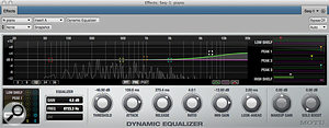 Dynamic EQ is a major new addition to DP. Noise reduction, taming resonances, fixing problem mixes — it can do it all. Static EQ settings you make are shown with a green line. Automatic, 'dynamic' EQ settings are shown in purple.