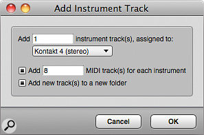 Add Instruments can automatically create amultitimbral instrument, together with all the tracks you need to drive it, each set to adifferent MIDI channel. What's more, the whole lot can be put in atrack folder if you like.