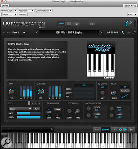 UVI Workstation's cool, clear interface makes it astrong contender for handling all your MOTU library sounds — even those of MachFive.