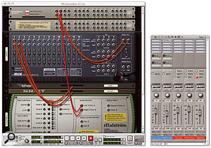 In the Reason rack Malström bypasses the Remix mixer and gets its own 'private' Rewire channels. Thor and NNXT remain submixed. In DP another Aux track is required to handle Malström's audio, but this can be panned and have MAS or Audio Unit effects applied to it without affecting the Reason input already in place.