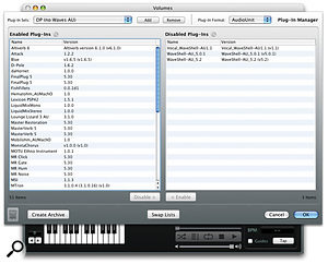 AudioFinder's Plug-in Manager is an elegant solution to maintaining plug-in sets for different purposes and applications.