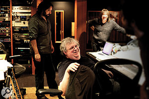 Another photo from the Henson sessions, with Mick Guzauski, Peter Franco and keyboardist Chris Caswell (back right).