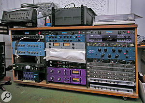 The main outboard rack at Daptone Studios houses some desirable modern gear such as the Tube–Tech compressor and EQ, two Purple Audio MC77 compressors, an Anthony Demaria Labs tube compressor and an API Lunchbox, along with some quirky vintage units such as Orban spring reverbs and an Altec compressor.