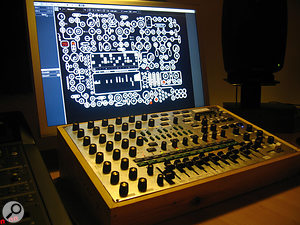 The Okkam 01 combines a  Mac running NI Reaktor with a  custom–built control surface.