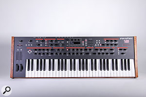 The Prophet 12's front panel: many will be glad to see that, unlike on the Prophet 08, the wheels are back where they belong at the side of the keyboard.