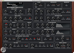 The whole of the synth's voice structure is laid out clearly on a  single page within the SoundTower editor, making the Prophet  6 much simpler to understand and edit than more complex synthesizers that require multi-page editors.