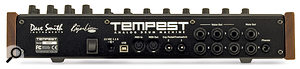 The Tempest's back panel includes an input for an external 15V power supply, a USB port, MIDI I/O, a pair of footswitch inputs, six individual voice outputs, a pair of stereo outputs and a headphone socket.
