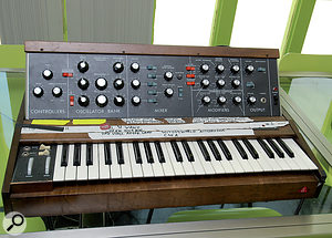 """Many of Devo's original vintage instruments were brought out of storage for use on Something For Everybody. From top left: the Minimoog, Mark Mothersaugh's """"M16 rifle""""; the EML 500, most famously used for the synthesized whipping noise on 'Whip It'; the extremely rare EML Poly‑box; Oberheim Two‑voice and Octave Cat."""