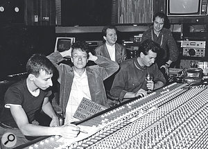 Devo at LA's Record Plant studio on 3rd Street, 1985 (left to right): Alan Myers, Mark Mothersbaugh, Gerald Casale and Bob Casale (engineering), joined by assistant engineer Clive Taylor.
