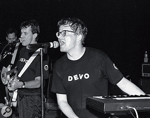 After a long hiatus at the start of the '90s, Devo regrouped in 1996 to play the Lollapalooza festival in LA. Left to right: Bob Casale, Bob Mothersbaugh, Mark Mothersbaugh.