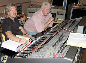 Doug Rogers (left) and Ken Scott working on EastWest's Fab Four virtual instrument at EastWest Studios.