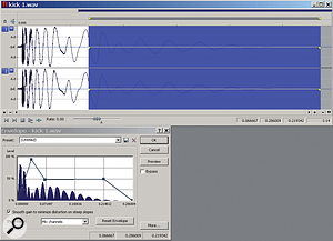 Figure 2: Reshaping the amplitude envelope of our kick sample, using Sound Forge's Envelope tools.