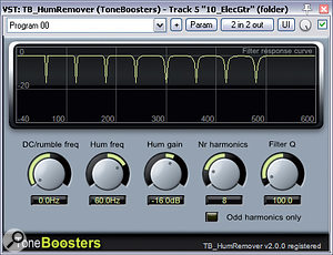 Figure 09: Your filtering need not be limited to simple shelves and high/low-pass filters. Try targetting both the fundamental of asample and the harmonics — using tools such as TB HumRemover, shown here.