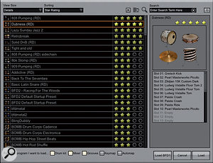 Some drum libraries, such as FXpansion's BFD2, shown here, include useful preset browsers where you can rate the drum kit parts after auditioning them.