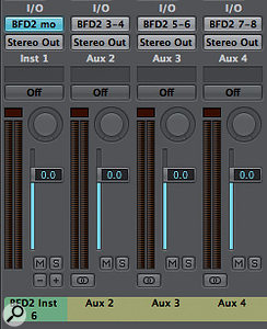 Much like Pro Tools, Logic Pro uses acombination of amain Instrument track, which hosts the plugin, and Auxiliary Tracks which monitor the input from the plugin's additional outputs. When Logic detects that amultiple output instrument has been loaded in an Instrument Track, it adds asmall   icon on the bottom right of the instrument's mixer channel. If we click this button once, Logic will add an Auxiliary Track to the right of the Instrument Track and very kindly setup the input to be the first additional output of our plugin, very neat. Click again to repeat the process. Of course you can change the output used for the Auxiliary Track's input in the I/O Section of the Auxiliary Track's mixer channel.