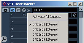 Cubase does have an Instrument Track, however it cannot be used for multiple output plugins (only the first pair of stereo outputs is used). Instead the VST Instruments Rack must be used. Press F11 to open it. Once the plugin is loaded into one of the slots here asmall icon will appear to the immediate left of the plugin's name. Click on this icon to access adrop down menu of the plugin's available outputs. You can enable or disable individual output, or enable them all. Once this is done, the enabled outputs will appear as additional channels in the Cubase mixer, ready for use.