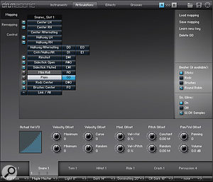 The Articulations Tab, where MIDI note assignments are made. Individual articulations can also be loaded or unloaded as required. The 10 knobs below apply offsets to the equivalent settings on the Instrument Tab, for each individual articulation.