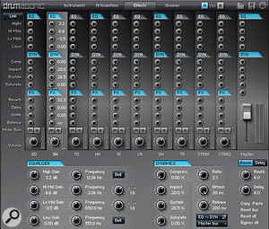 The Effects Tab, where each instrument and ambience type appears on its own bus, and is further processed by the built-in effects.