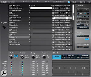 The Grooves Tab, where ready-made grooves can be selected and dragged into your DAW project, with the facility to record your own custom grooves. Third-party grooves can also be imported, with anumber of real-time remapping templates available for popular formats.