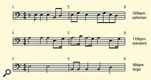 Three typical reggae bass lines.