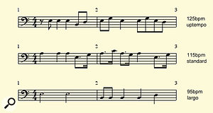 Three typical reggae bass lines.
