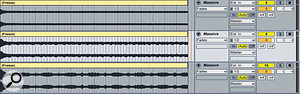 Layering sounds using asampler. Here, I've created three variants on abass sound using NI's Massive, and rendered each of them as an audio file (above right). Next, I've loaded all three into Kontakt (right) to use as asingle instrument.