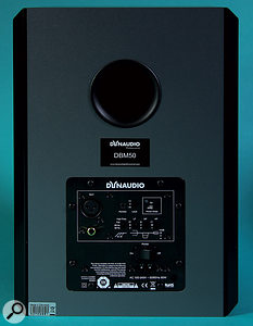 The DBM50 back panel houses the balanced and unbalanced audio inputs, as well as the extensive EQcontrols.