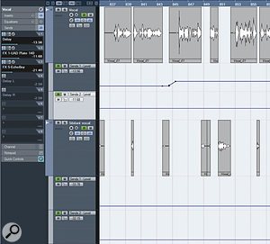 Manual de‑essing in Cubase. I've chopped the sibilant sounds out of my main lead vocal and placed them on aseparate track (below) with different EQ and compression settings. Note also the automation lanes for the reverb and delay — I've used less of these effects on the sibilants.
