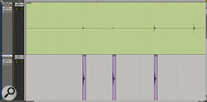 Manual drum replacement in Pro Tools is a lot easier than it sounds. Here, I'm simply using the Tab to Transient feature to move the cursor along the original kick drum track (top), then moving it down to the next track and pasting in my replacement sample.
