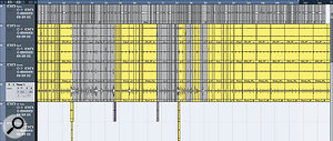 An extreme example of the editing that is sometimes required to produce agood drum take! This multitrack drum recording was stitched together from two separate takes (colour‑coded grey and yellow) and then minutely edited to place everything hard on the grid. (I ran out of patience at the end and simply looped the last four bars for afade‑out...) The lower screen shows aclose‑up of one of the transitions between the two takes. Note that the tom hit from the first section is allowed to run over into the second for amore natural transition.
