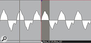 When editing basses and similar sounds, it's often worth sacrificing some timing accuracy for phase coherence. In the top screen, the fundamentals of the two regions are out of phase, which leads to obvious cancellation when they are crossfaded (centre). The edit in the lower screen will sound far more natural.