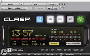The CLASP's recently redesigned plug-in interface, used on the test session with a Pro Tools system.
