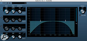 Using high– and low–pass filters (top), you can 'bracket' the frequency band you want to let through, cutting out unwanted frequencies on either side — a helpful way of making space for other elements in a mix. High and low shelf filters level out ('shelve'), so are a better option when you want to apply a gentle boost to the top or bottom end.