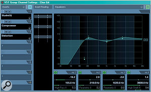 It's always worth thinking about where you place EQ in relation to other processors.  It makes sense to perform corrective EQ before any compression, so that the compressor isn't triggered by and doesn't boost any unwanted frequencies. This means that if your sequencer has a built–in channel EQ, you need to think whether it is more appropriate to use an insert — or possibly both, as shown here.