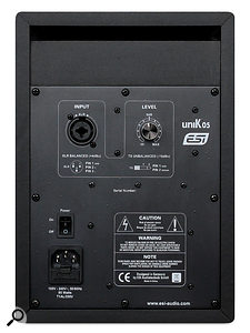 The rear panel hosts the Unik 05's input sockets, power switch and input level knob.