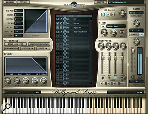 The Hollywood Brass user interface closely resembles that of Hollywood Strings. Though the upper right hand window shows only the selected patch, Play actually supports multiple instruments playing simultaneously on different MIDI channels — clicking on the window reveals all the currently loaded patches.