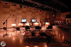 Dim the lights, sound the horns... EastWest Studio 1 set up for the Hollywood Brass sampling sessions (note the screens displaying bar and beat numbers).