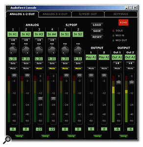 The <em>Audiofire 4 Console</em> provides plenty of flexibility for mixing input and DAW output levels.