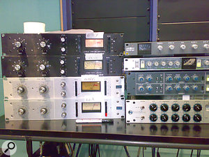 Abbey Road's impressive catalogue of outboard was plundered to locate Urei 1176 compressors for all the main vocals (left), and avariety of stereo compressors for use on the mix bus (right).