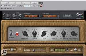 The Eleven interface presents the same controls as are found on the original amp.