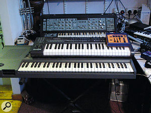 """Lurking beneath acontroller keyboard is Paul Epworth's old Emax sampling keyboard. """"The sampling engine's the same as on the SP1200, so for sampling drum sounds it's really warm and punchy. The arpeggiator's got all these different settings, like additive settings, so that every time you add anote it increases the frequency of the arpeggiator by anotch, which is quite useful for doing interesting stuff with harp sounds and Italo‑disco stuff."""""""