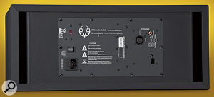 The back panel houses the XLR and RCA analogue inputs, as well as DIP swiches for locking and unlocking the DSP functionality.
