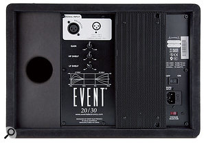 The rear panel houses the XLR input, as well as controls for input gain and the high- and low-frequency shelving filters.