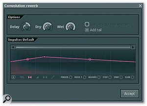 Among the audio processes that can be applied in Edison are 'Blur' and convolution reverb.