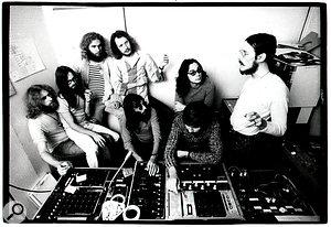 The original Faust in their Wümme studio, 1971. From left: Werner Diermaier, Jean‑Hervé Péron, Rudolf Sosna, Gunther Wüsthoff, Uwe Nettelbeck, engineer and equipment designer Kurt Graupner, Hans Joachim Irmler, Arnulf Meifert.